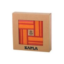 Kapla, boekje en 20 rode en 20 oranje plankjes