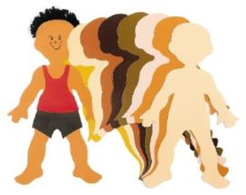 Multicultureel kinderfiguren karton, assortiment van 24 stuks