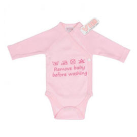 Overslag romper VIB Remove baby before washing roze
