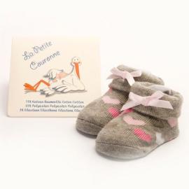 Babysokjes La Petite Couronne grijs met roze hartjes