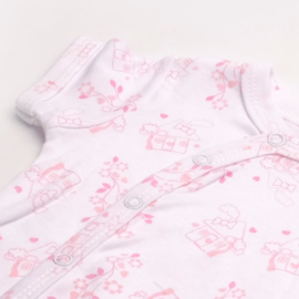 Overslag romper korte mouw La Petite Couronne roze huisjes en bloemetjes newborn