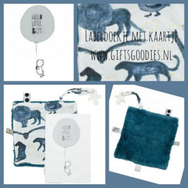 Wenskaart met knuffeldoekje Snoozebaby blauw