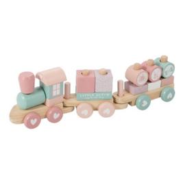 Houten speelgoed Little Dutch - Blokkentrein Adventure roze