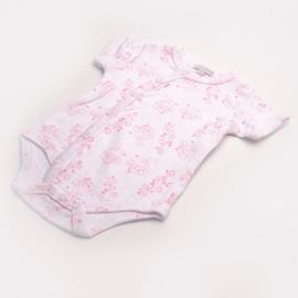 Overslag romper korte mouw La Petite Couronne roze huisjes en bloemetjes 3-6mnd