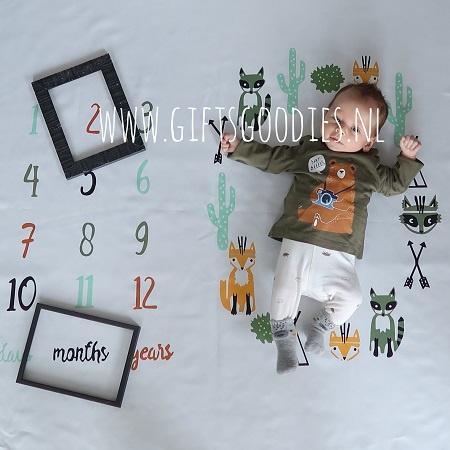 Baby mijlpaal fotodeken - Tipi tent met vos