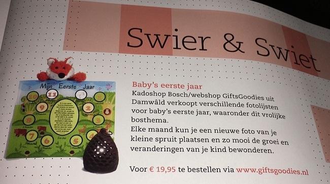 www.giftsgoodies.nl baby fotolijst in tijdschrift Heit & Mem Swier en Swiet