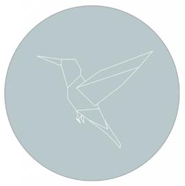 Muurcirkel geometrische kolibrie zeeblauw  28 cm, Label-R