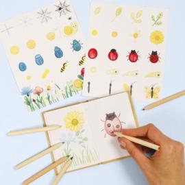 Insecten en bloemen tekenen