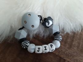 Speenkoord MET NAAM zwart/wit/grijs olifant