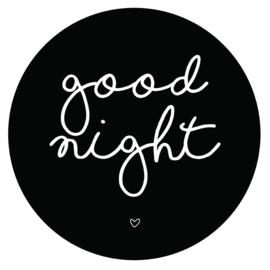 Muurcirkel good night zwart 38 cm, Label-R