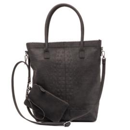 Natural bag croco zwart, ZEBRA