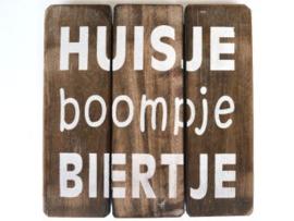 Houten onderzetter/tekstbord HUISJE boompje BIERTJE, naturel