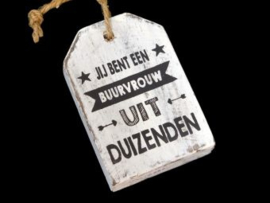 Houten label buurvrouw, wit