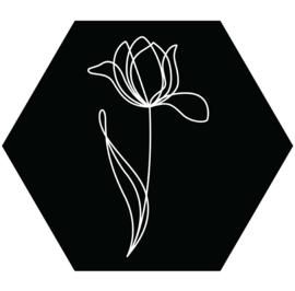 Muurhexagon tulp zwart, Label-R