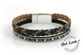Gevlochten metallic shine armband, zwart