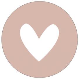 Muurcirkel hart oudroze 28 cm, Label-R
