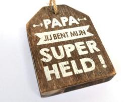 Houten label Papa superheld, taupe