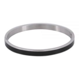 Armband zwart/ zilver L 6mm/ 63 mm