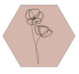 Muurhexagon viooltjes oudroze, Label-R