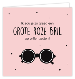 Grote roze bril