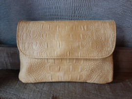 Clutch croco, okergeel