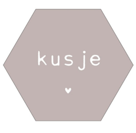 Muurhexagon kusje zand, Label-R