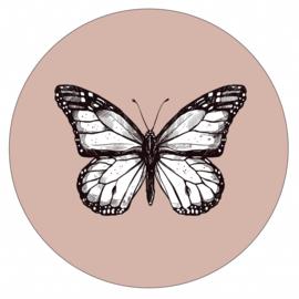 Muurcirkel butterfly oudroze 28 cm, Label-R