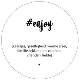 Muurcirkel #enjoy wit 38 cm, Label-R