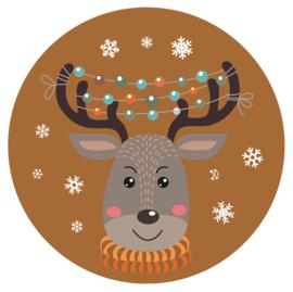 Muurcirkel feestelijk kerst rendier 28 cm, Label-R
