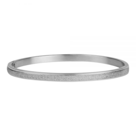 Armband glitterprint zilver L 4 mm/ 63 mm