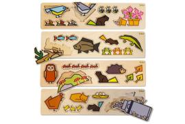 Set van 4 houten puzzels, CUBEY
