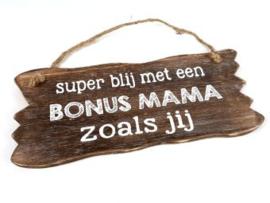 Houten tekstbord BONUS MAMA, naturel