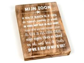 Houten tekstbord MIJN ZOON, naturel