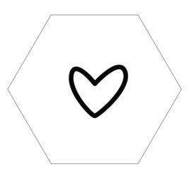 Muurhexagon open hart wit, Label-R