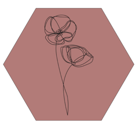 Muurhexagon viooltjes donkerroze, Label-R
