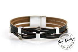 Sierlijke zwarte armband met glinster