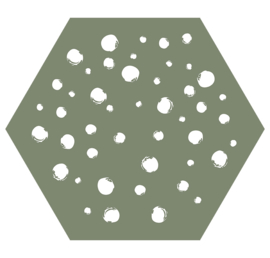 Muurhexagon dots olijgroen, Label-R
