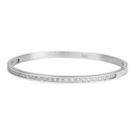 Armband met siersteentjes zilver L 4mm/ 63 mm