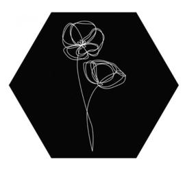 Muurhexagon viooltjes zwart, Label-R