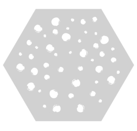 Muurhexagon dots lichtgrijs, Label-R