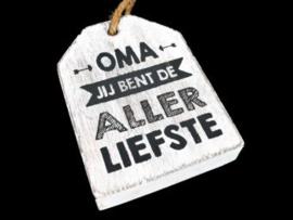 Houten label Oma allerliefste, wit