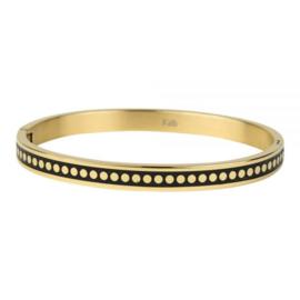 Armband gestipt zwart/goud M 6 mm/ 58 mm