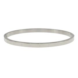 Armband streepprint zilver M 4 mm/ 58 mm