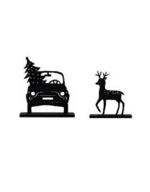 Houten kerstset met auto en hert