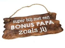 Houten tekstbord BONUS PAPA, naturel