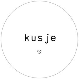 Muurcirkel kusje wit zwart  28 cm, Label-R