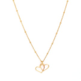 Ketting Double heart gold, Love Ibiza