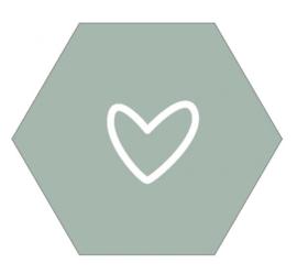 Muurhexagon open hart mint, Label-R