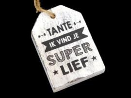 Houten label Tante, wit