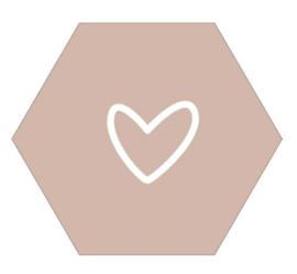 Muurhexagon open hart oudroze, Label-R